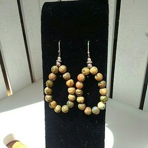 Jasper bead earrings